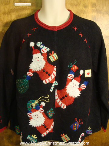Santas Giving Presents Ugly Christmas Sweater