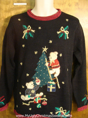 Decorating Teddy Bears Ugly Christmas Sweater