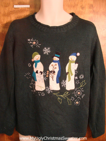 Chatting Snowmen Ugly Christmas Sweater