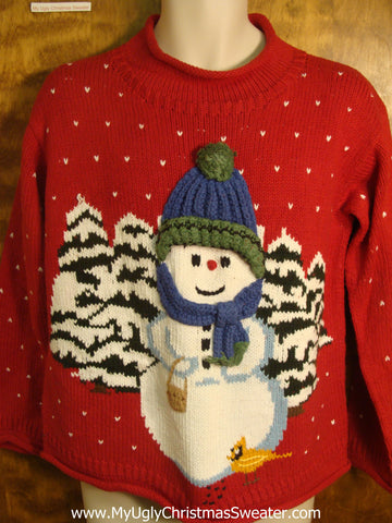 Winter Snowman and Trees Ugly Christmas Sweater