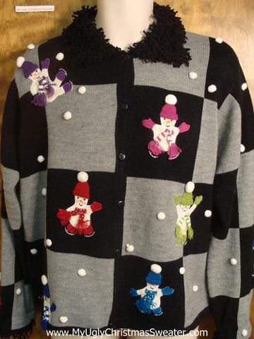 Snow Pom Poms and Snowmen Ugly Christmas Sweater