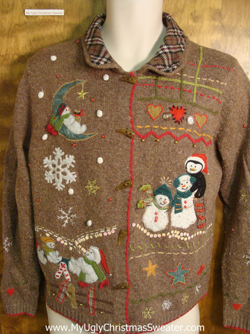 Snowmen Enjoying the Holidays Ugly Christmas Sweater