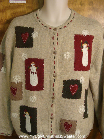 Hearts and Snowmen Galore Ugly Christmas Sweater