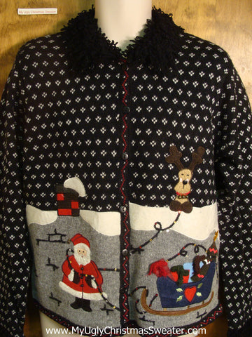 Santa Up On The Rooftop Ugly Christmas Sweater