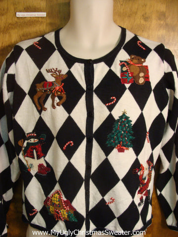 Black and White Argyle Ugly Christmas Sweater