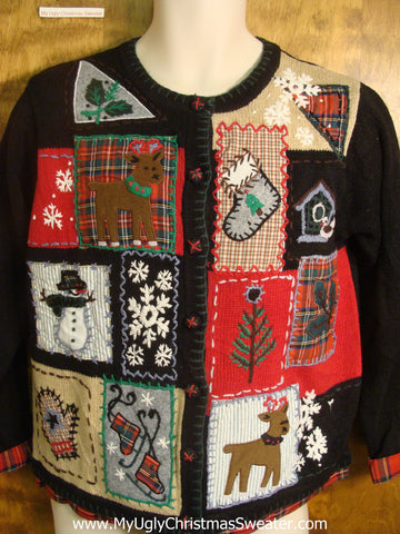 Patchwork Holiday Theme Ugly Christmas Sweater