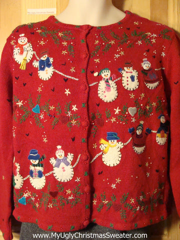 Tacky Ugly Christmas Sweater with Clotheline of Snowmen and Ivy and Snowflakes (f741)