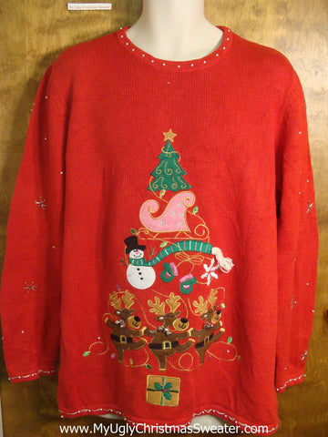 Dancing Reindeer and Holiday Accents Ugly Christmas Sweater