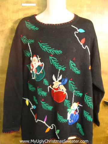 Santa, Reindeer, and Snowmen Ornaments Ugly Christmas Sweater