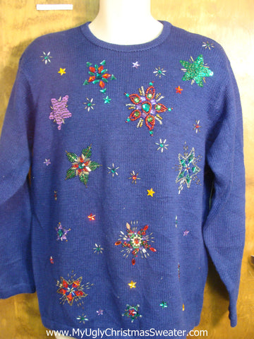80s Bling Poinsettias Ugly Christmas Sweater