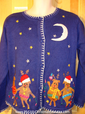 Tacky Partying Reindeer Ugly Christmas Sweater with Four Festive Reindeer Loving Life (f742)