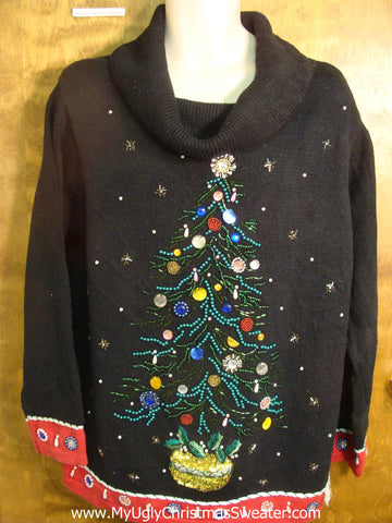 Tree with Bling Decorations Ugly Christmas Sweater