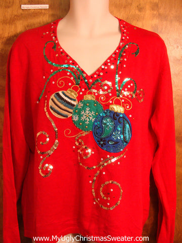 Bling Ornaments and Ribbons Ugly Christmas Sweater