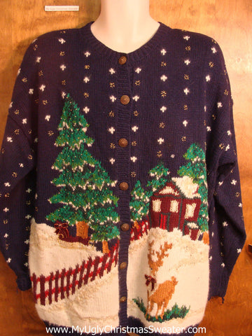 Snowy House Ugly Christmas Sweater