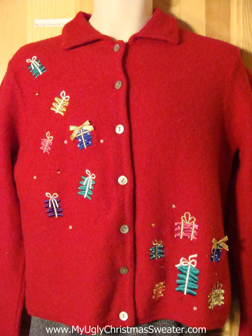 Tacky Red Ugly Christmas Sweater with Floating Gifts (f744)