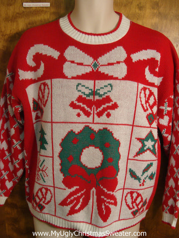80s Wreath with Decorations Ugly Christmas Sweater
