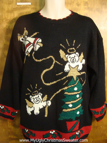 Teddy Bear Angels Ugly Christmas Sweater