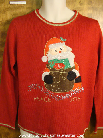 Peace and Joy Santa Ugly Christmas Sweater