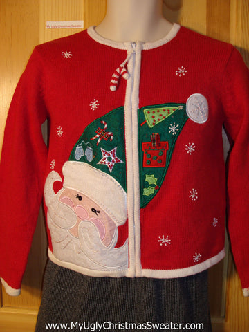 Tacky Giant Santa Head Ugly Christmas Sweater with Candy Cane Zipper Pull (f745)