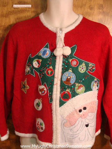 Santa Christmas Tree Hat and Ornaments Ugly Christmas Sweater