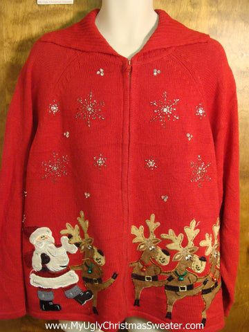 Santa and Reindeer Dancing Ugly Christmas Sweater