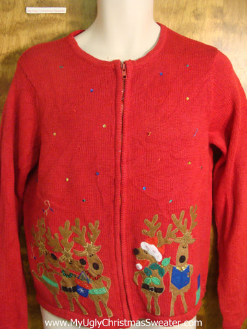 Caroling Reindeer Ugly Christmas Sweater