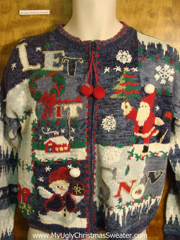 Let It Snow Santa Ugly Christmas Sweater
