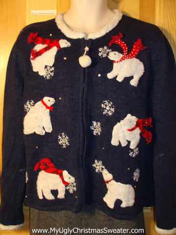 Tacky Ugly Christmas Sweater with Festive Bears and a Pom Pom Zipper Pull (f746)