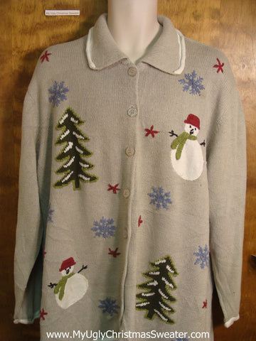 Snowmen and Snowy Trees Ugly Christmas Sweater