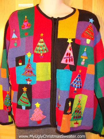 Tacky 80s Style Ugly Christmas Sweater with Padded Shoulders and Bling Christmas Trees (f747)