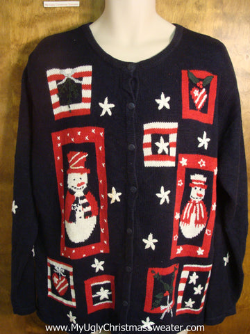 Red, White, and Blue Snowman Ugly Christmas Sweater