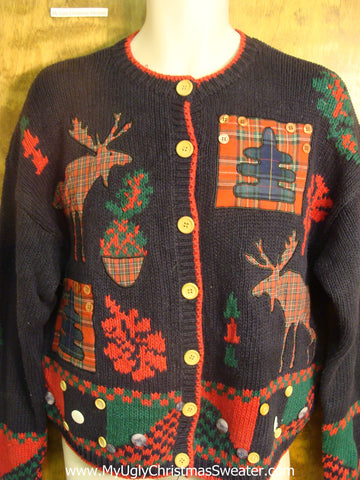 Plaid Moose Ugly Christmas Sweater