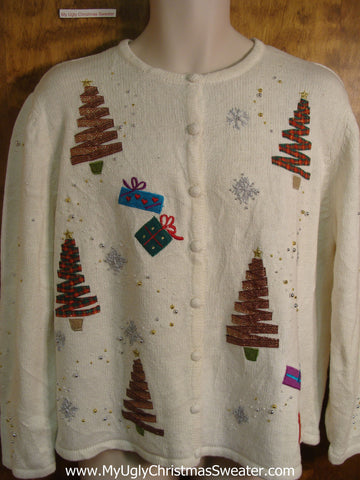 Holiday Ribbon Trees Ugly Christmas Sweater