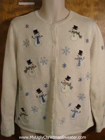 Tiny Smiling Snowmen Ugly Christmas Sweater