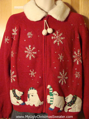 Tacky Ugly Christmas Sweater with Festive Bears, Snowflakes, and a Pom Pom Zipper Pull  (f748)