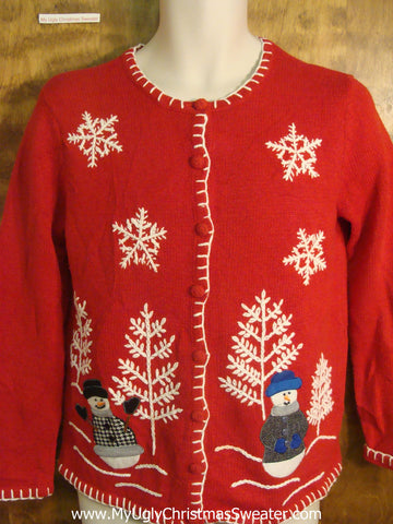Snowmen Playing in the Forest Ugly Christmas Sweater