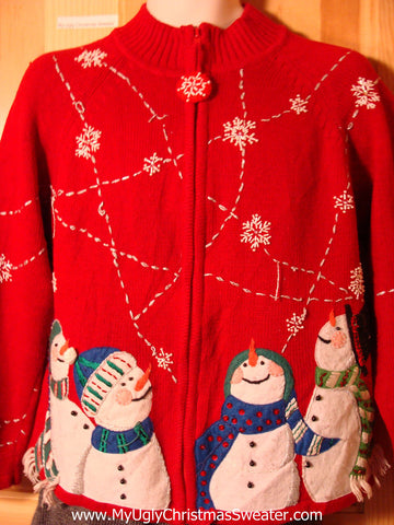 Tacky Ugly Christmas Sweater with Carrot Nosed Snowmen Looking up to the Snow Filled Sky (f749)