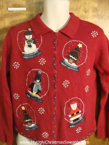 Holiday Snow Globes Tacky Christmas Sweater
