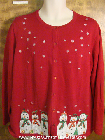 Snowman Gathering Tacky Christmas Sweater
