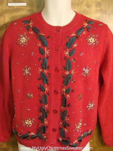 Bling Snowflakes and Holly Tacky Christmas Sweater