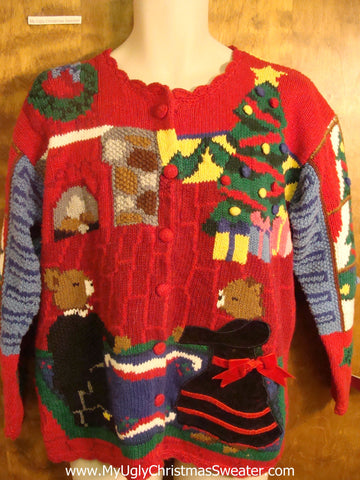80s Teddy Bear Family Tacky Christmas Sweater