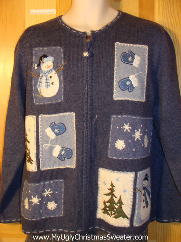 Tacky Ugly Christmas Sweater with Quilt-like Blocks of Festive Fun (f750)