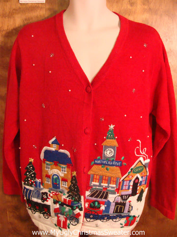 Holiday Village Tacky Christmas Sweater