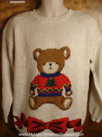 80s Holiday Teddy Bear Tacky Christmas Sweater
