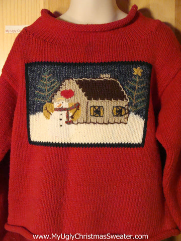 Tacky Ugly Christmas Sweater with a Snowman and his House with a Heart Decoration (f751)