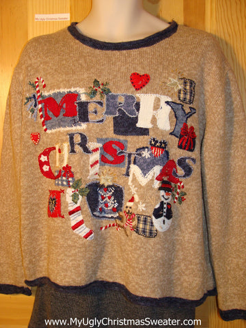 "Crafty Tacky Ugly Christmas Sweater ""MERRY CHRISTMAS"" (f752)"