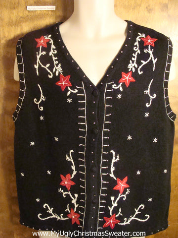Poinsettias and Swirls Tacky Christmas Sweater Vest