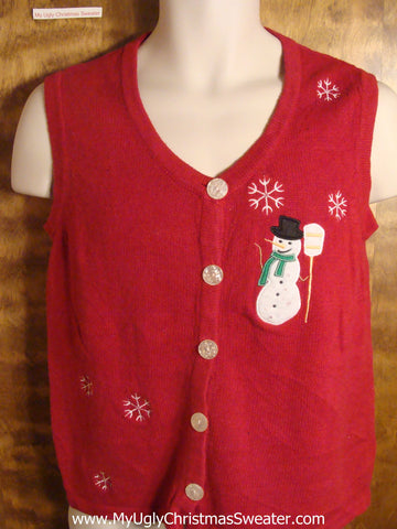 Snowman and his Broom Tacky Christmas Sweater Vest