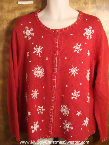 Festive Snowflakes Tacky Christmas Sweater
