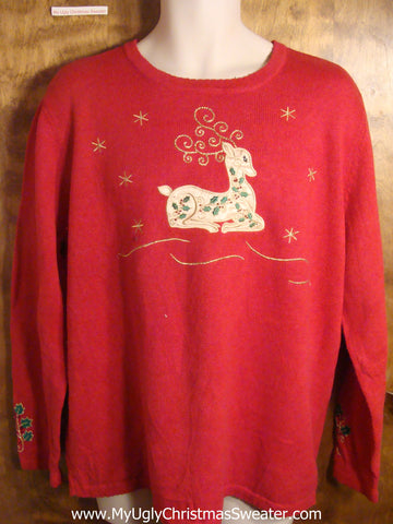 Intricate Reindeer Tacky Christmas Sweater